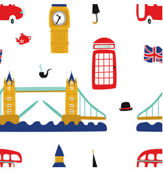 british london symbols seamless pattern vector image