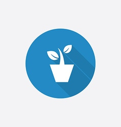 houseplant Flat Blue Simple Icon with long shadow vector image