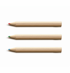 three colored wooden pencils vector image vector image