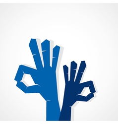 wow or hand show OK sign vector image