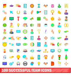 100 successful team icons set cartoon style vector