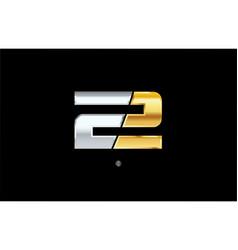 2 number silver gold logo icon design vector