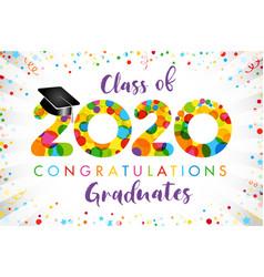 2020 yellow colouerd bubbles graduates vector image