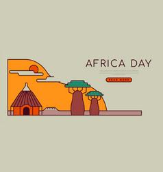 Africa day travel landscape flat cartoon template vector