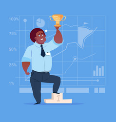 african american business man hold prize winner vector image