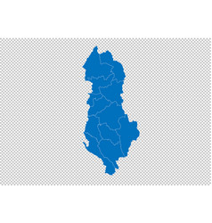 albania map - high detailed blue map with vector image