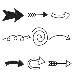 Arrows icon set hand drawn on white background vector