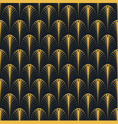 Art deco seamless pattern gold on black vector