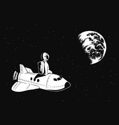 astronaut sits on space shuttle vector image