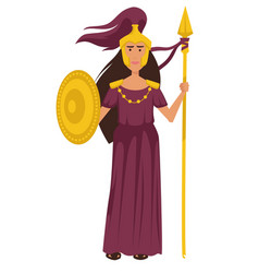 Athena ancient greek goddess in gold armor vector