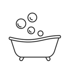 Baby bathtub linear icon vector