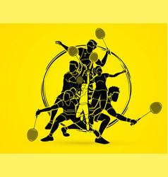 badminton players cartoon sport graphic vector image