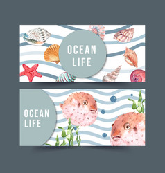 Banner design with sealife theme puffer fish vector