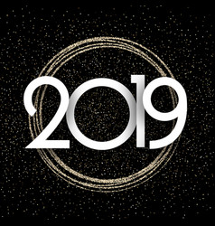 black and gold shiny 2019 new year background vector image