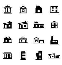 black buildings icon set vector image