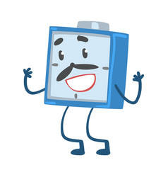 Blue alarm clock character standing and smiling vector