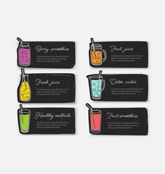 Bundle of banner templates or cards with smoothies vector