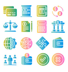 Business and finance color icons set vector