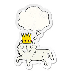 cartoon cat wearing crown and thought bubble as a vector image