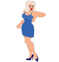 Cartoon sexy woman with white hair and in blue vector image