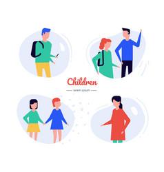 children - flat design style characters set vector image