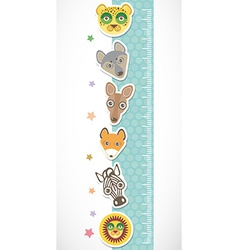 Children height meter wall sticker Set of funny vector image