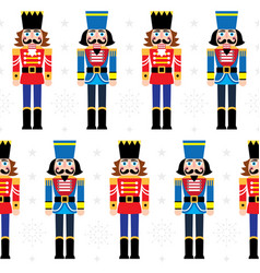 christmas nutcracker seamless pattern vector image