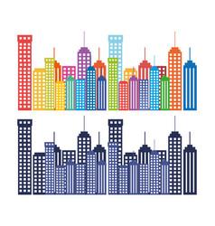 cityscape buildings set silhouette icon vector image