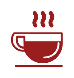 Coffee cup icon red line vector
