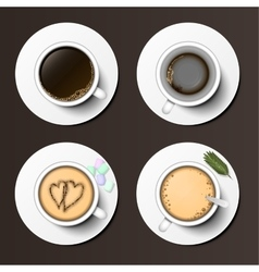 Coffee cups assortment top view collection vector