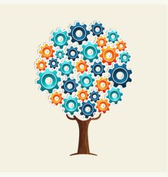 Cog wheel tree concept for teamwork solution vector