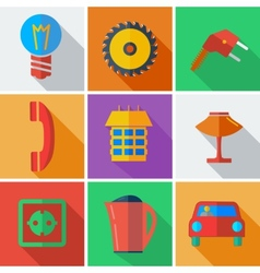 Collection modern flat icons Home Appliances with vector image vector image