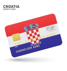 Credit card with Croatia flag background for bank vector image