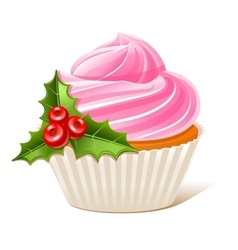 Cupcake with mistletoe vector