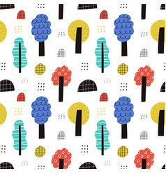 cute colorful trees seamless pattern hand vector image