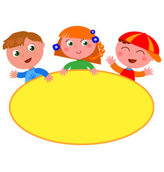 Cute kids with blank yellow sign vector
