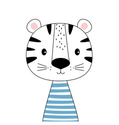 cute scandinavian tiger isolated on white vector image