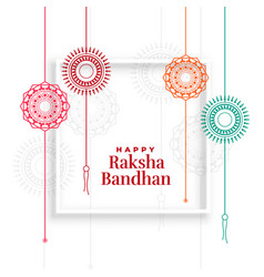 Decorative rakhi designs for happy raksha bandhan vector