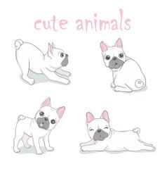 dog french bulldog logo icon cartoon character vector image