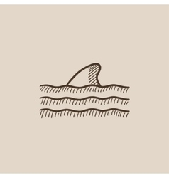 Dorsal shark fin above water sketch icon vector