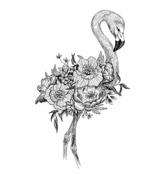 drawing bird flamingo with blooming flowers vector image
