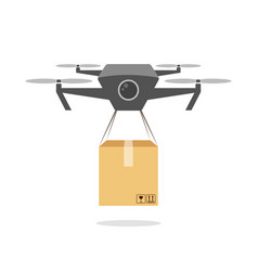 Drone delivering cardboard box daily delivery vector