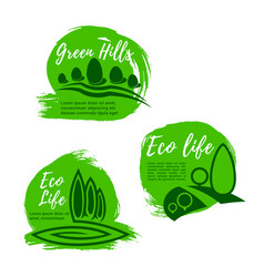 eco green life icon set for ecology design vector image