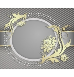 Elegant frame banner luxury floral background vector