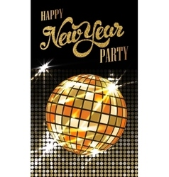 Fashion New Year party poster with gold sparkles vector