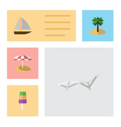 flat beach set of yacht sundae coconut and other vector image
