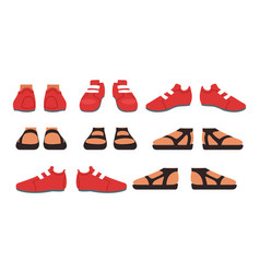 Footwear set male or female stylish shoes and vector