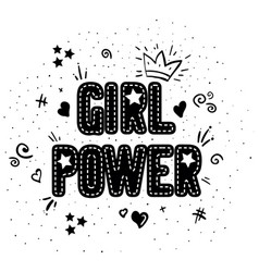 Girl power with crown lettering with on white vector