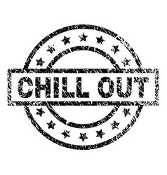 Grunge textured chill out stamp seal vector