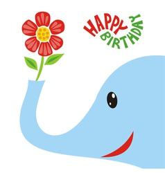 Happy birthday greeting card elephant vector image